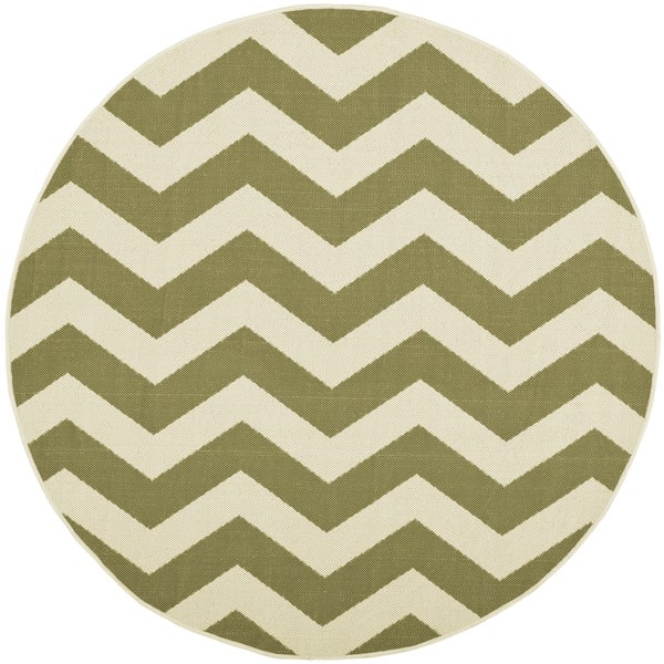 Safavieh Courtyard Blue/Beige Chevron-Pattern Indoor-Outdoor Rug