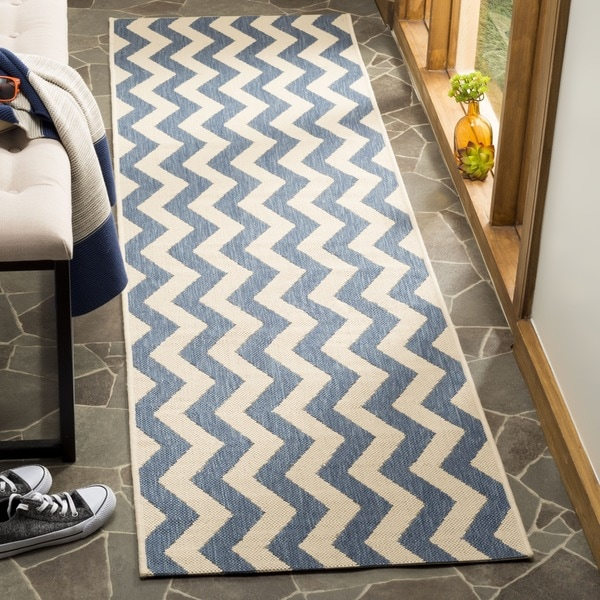 Shop Safavieh Courtyard Zig Zag Blue Beige Indoor Outdoor Rug On