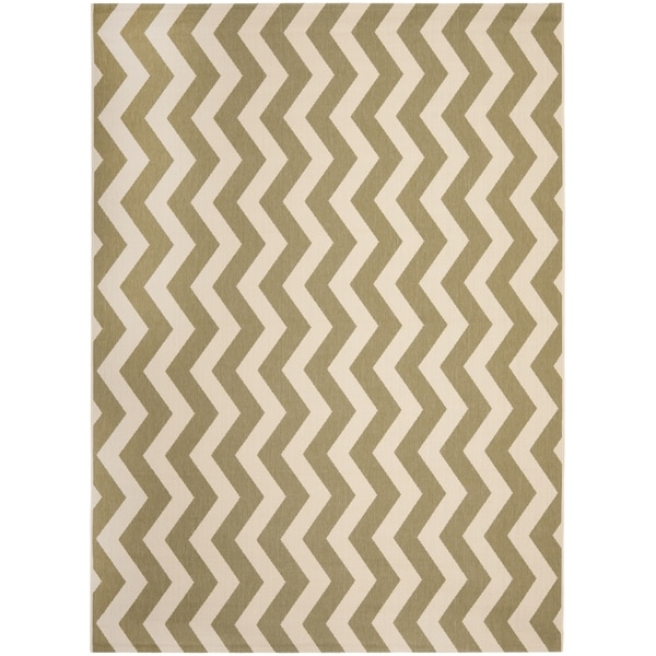 Safavieh Courtyard Zig-Zag Green/ Beige Indoor/ Outdoor Rug