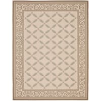 Safavieh Courtyard Beige/Dark Beige Border Pattern Indoor/Outdoor Rug - 9' x 12'
