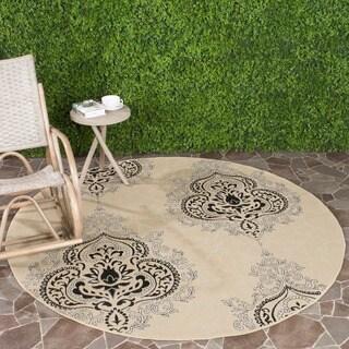 Safavieh Courtyard Cream/ Black Indoor Outdoor Rug
