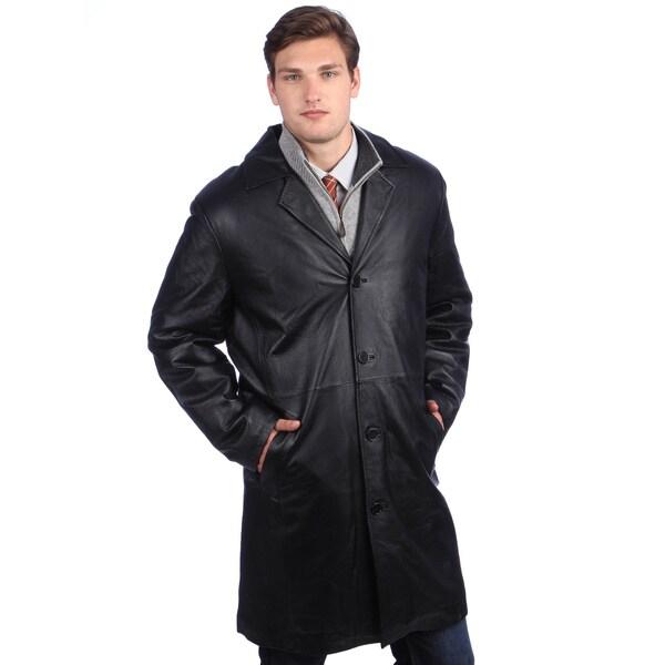 Ramonti Men's Black Leather Long Walking Coat