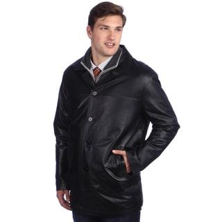 Ramonti Men's Classic Black Leather Car Coat