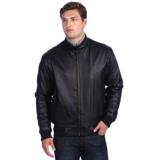 London Fog Men's Black Leather Bomber Jacket - Free Shipping Today ...
