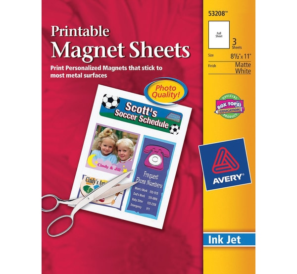 Avery Dennison Ink Jet Magnet Sheets (Pack of 3)