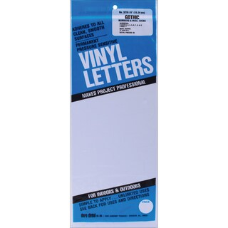 White Gothic Permanent Adhesive Vinyl Numbers 6-inch