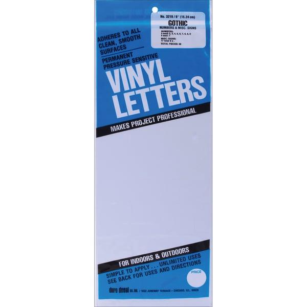 White Gothic Permanent Adhesive Vinyl Numbers 6-inch