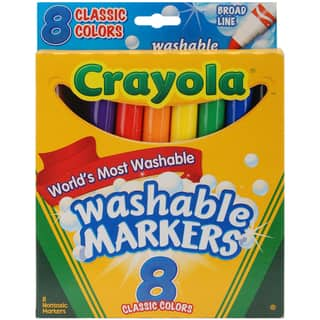 Crayola Broad-Line Nontoxic Washable Markers (Pack of Eight) https://ak1.ostkcdn.com/images/products/7357200/7357200/Crayola-Broad-Line-Washable-Markers-Pack-of-8-P14819542.jpg?impolicy=medium