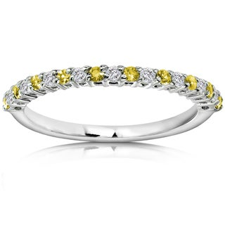 Annello by Kobelli 14k White Gold Diamond and Yellow Sapphire Band