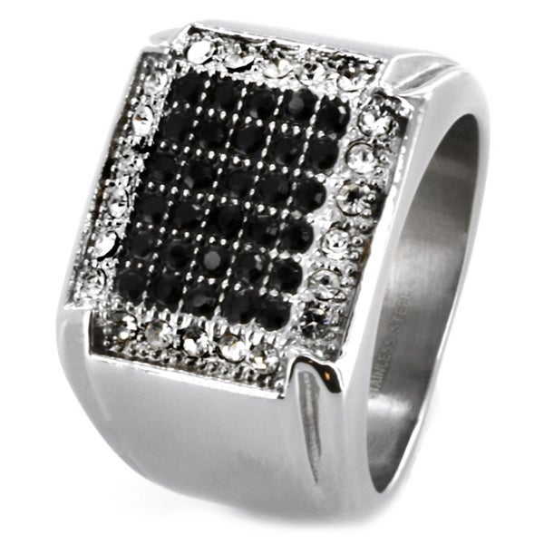 West Coast Jewelry Stainless Steel Micro-pave Black and CZ Ring