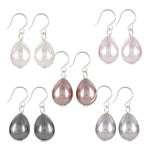 Roman Silvertone Colored Faux Pearl Teardrop 5-pair Earring Set