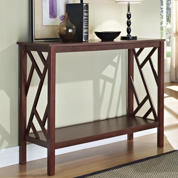 Espresso Abstract Design Console Sofa Table
