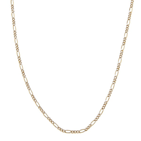 Shop 14k Two Tone Gold 1 9 Mm Figaro Chain Necklace 16 22
