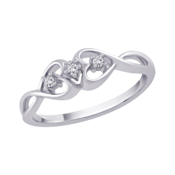 10k White Gold Diamond Accent Infinity Heart Ring