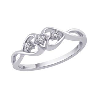 10k White Gold Diamond Accent Infinity Heart Ring