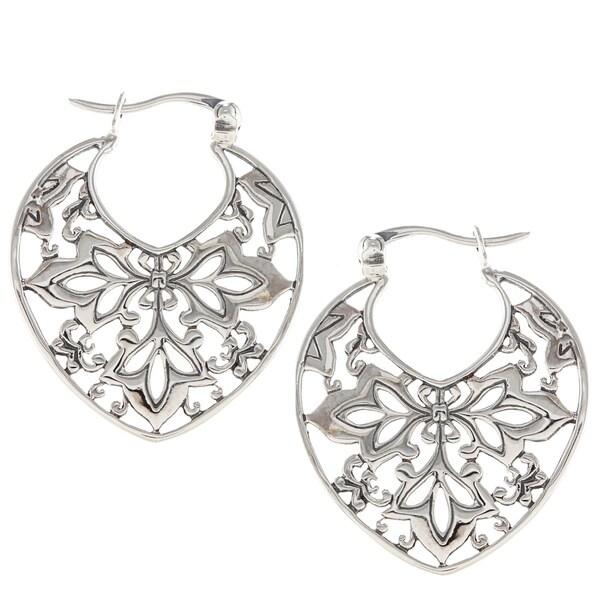 Sunstone Sterling Silver Bali Filigree Hoop Earrings