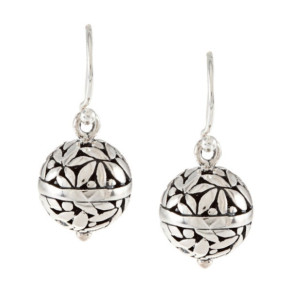 Sunstone Sterling Silver Bali Filigree Round Bead Earrings