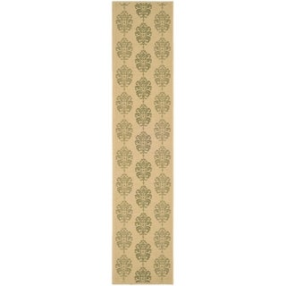 Safavieh St. Martin Damask Natural/ Olive Green Indoor/ Outdoor Rug (2'2 x 14')