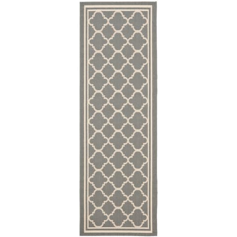 "Safavieh Courtyard Kailani Grey/ Beige Indoor/ Outdoor Rug - 2'3"" x 14' Runner"