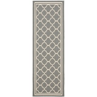 Safavieh Anthracite Grey/Beige Indoor/Outdoor Runner Rug - 2'2 X 12'