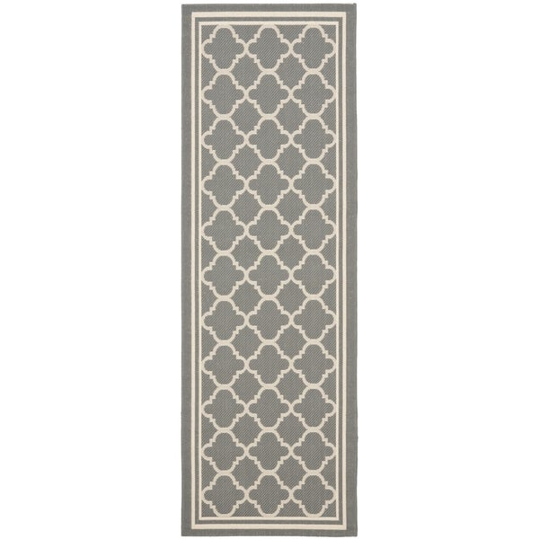 Safavieh Anthracite Grey/Beige Indoor/Outdoor Runner Rug (2\'2\