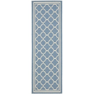 "Safavieh Blue/Beige Indoor-Outdoor Runner Rug (2'2"" x 14')"