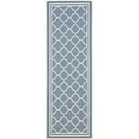 Safavieh Blue/Beige Indoor-Outdoor Runner Rug - 2'2 x 14'