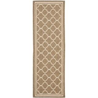 Safavieh Brown/ Bone Indoor Outdoor Rug - 2'2 x 14'