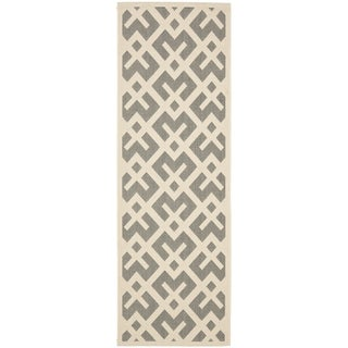 Safavieh Courtyard Contemporary Grey/ Bone Indoor/ Outdoor Rug (2'2 x 14')