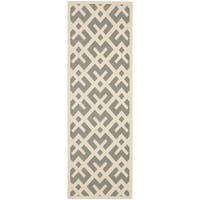 Safavieh Courtyard Contemporary Grey/ Bone Indoor/ Outdoor Rug - 2'2 x 14'