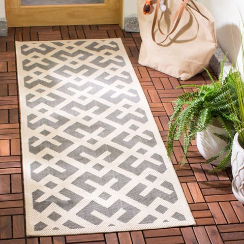 "Safavieh Courtyard Contemporary Grey/ Bone Indoor/ Outdoor Rug - 2'3"" x 14' Runner"