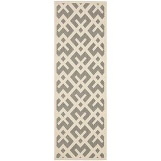 Safavieh Courtyard Contemporary Grey/ Bone Indoor/ Outdoor Rug (2'2 x 12')