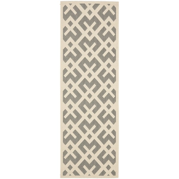 Safavieh Courtyard Contemporary Grey/ Bone Indoor/ Outdoor Rug (2'2 x 12')
