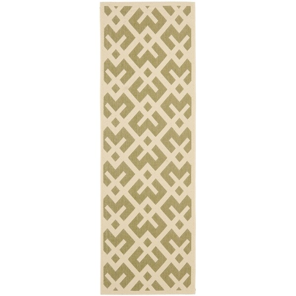 Safavieh Courtyard Contemporary Green/ Bone Indoor/ Outdoor Rug - 2'2 X 12'