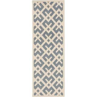 Safavieh Courtyard Contemporary Blue/ Bone Indoor/ Outdoor Rug (2'2 x 12')