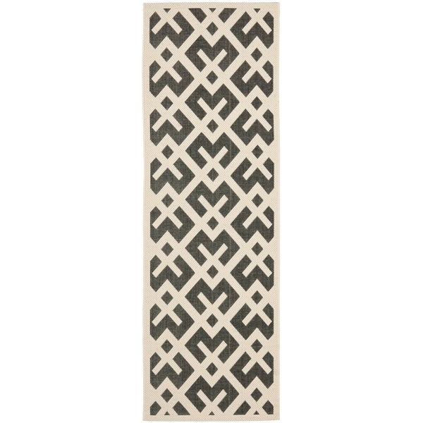 Safavieh Courtyard Contemporary Black/ Beige Indoor/ Outdoor Rug (2'2 x 12')