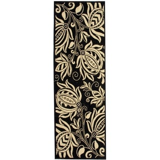 "Safavieh Andros Black/ Sand Indoor/ Outdoor Runner Rug (2'2"" x 12')"