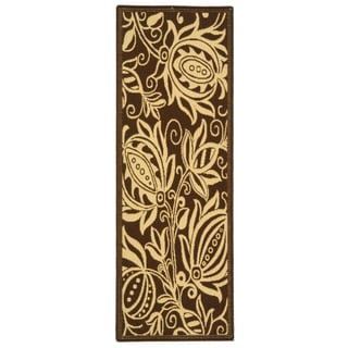 "Safavieh Andros Chocolate/ Natural Indoor/ Outdoor Runner Rug (2'2"" x 14')"