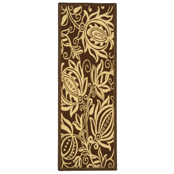 Safavieh Andros Chocolate/ Natural Indoor/ Outdoor Rug (2'2 x 12')