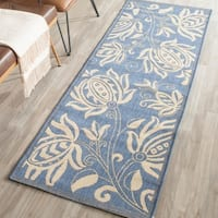 "Safavieh Andros Blue/ Natural Indoor/ Outdoor Runner Rug - 2'3"" x 14'"