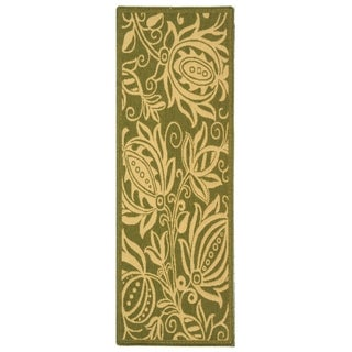 Safavieh Andros Olive Green/ Natural Indoor/ Outdoor Rug (2'2 x 14')