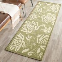"""Safavieh Andros Olive Green/ Natural Indoor/ Outdoor Rug - 2'3"""" x 12'"""