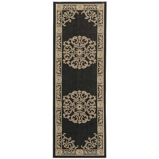 Safavieh Sunny Medallion Black/ Sand Indoor/ Outdoor Rug (2'2 x 14')