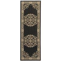 Safavieh Sunny Medallion Black/ Sand Indoor/ Outdoor Rug - 2'2 x 14'