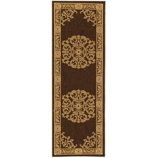 Safavieh Chocolate/ Natural Indoor Outdoor Rug (2'2 x 12')