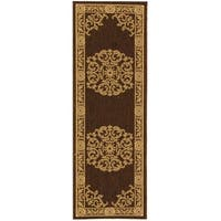 Safavieh Sunny Medallion Chocolate/ Natural Indoor/ Outdoor Rug - 2'2 X 12'