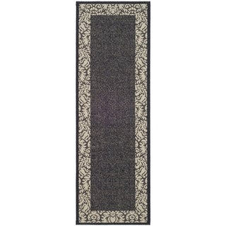 "Safavieh Kaii Damask Black/ Sand Indoor/ Outdoor Rug (2'2"" x 14')"