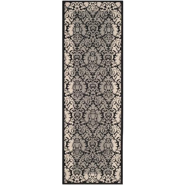 "Safavieh Kaii Damask Black/ Grey Indoor/ Outdoor Rug (2'2"" x 12')"