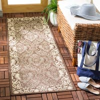 "Safavieh Kaii Damask Chocolate/ Natural Indoor/ Outdoor Rug (2'2 x 12') - 2'2"" x 12'"