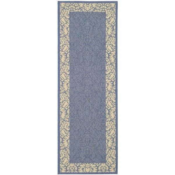 Safavieh Kaii Damask Blue/ Natural Indoor/ Outdoor Rug (2'2 x 14')
